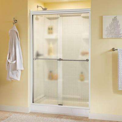 Lyndall 48 in. x 70 in. Semi-Frameless Sliding Shower Door in White with Nickel Handle & Droplet Glass
