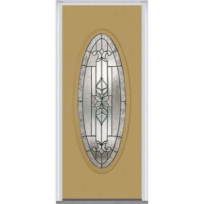 37.5 in. x 81.75 in. Cadence Decorative Glass Full Oval Lite Painted Majestic Steel Exterior Door