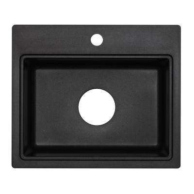Astracast Dual Mount Granite Composite 20 in. 1-Hole Bar Sink in Metallic Black