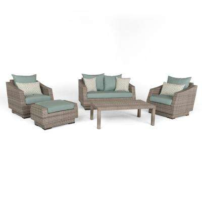 Cannes 5-Piece All-Weather Wicker Patio Love and Club Seating Set with Spa Blue Cushions
