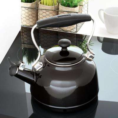 1.7 qt. Enamel-On-Steel Vintage Tea Kettle in Glossy Black