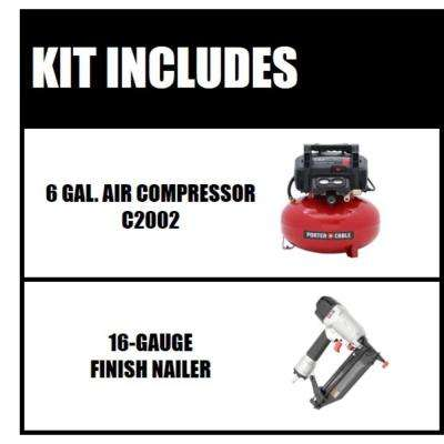 6 Gal. 150 PSI Portable Electric Air Compressor and 16-Gauge Nailer Combo Kit