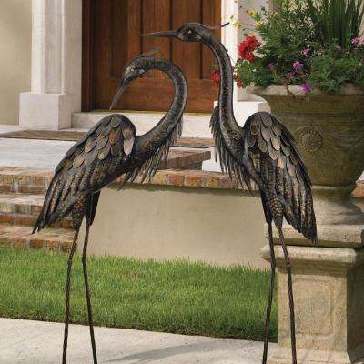 Large 45 in. Bronze Heron Garden Statuary - Classic Pose