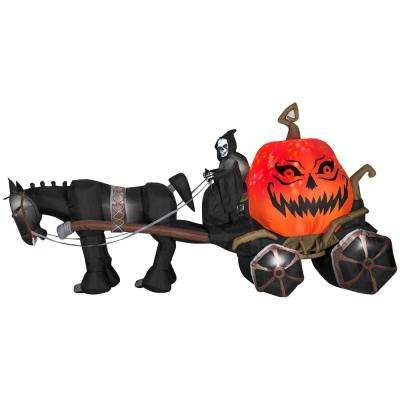 168.11 in. W x 51.97 in. D x 85.83 in. H Projection Inflatable-Fire and Ice-Grim Reaper, Carriage (RRY)