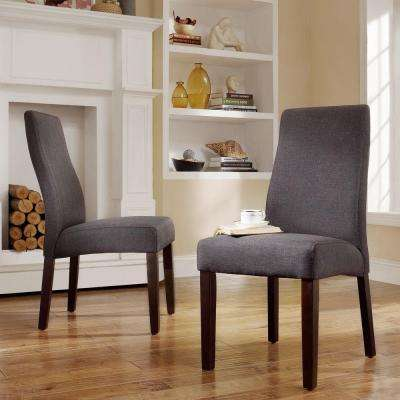 Everit Wave Back Fabric Dining Chair in Charcoal (Set of 2)