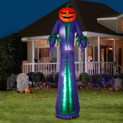 12 ft. H. Halloween Airblown Projection Inflatable Fire and Ice Jack O Reaper Halloween Inflatable