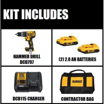 20-Volt MAX XR Lithium-Ion Cordless Brushless Hammer Drill/Driver Kit w/ Tool Connect, (2) Batteries 2.0Ah & Charger