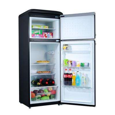 7.6 cu. ft. Retro Mini Fridge with Dual Door True Freezer in Black