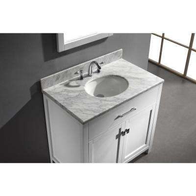 Caroline 36 in. W Bath Vanity in White with Marble Vanity Top in White with Round Basin and Mirror