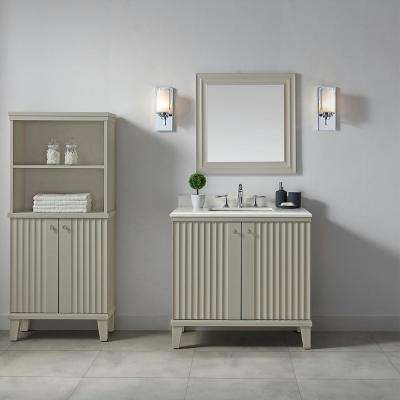 Parker 36 in. W x 22 in. D Vanity in Bedford Grey with Quartz Vanity Top in White with White Basin