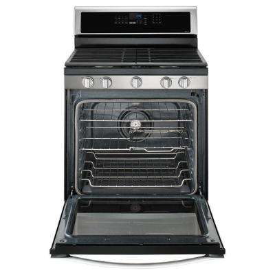 5.8 cu. ft. Freestanding Gas Range with Center Oval Burner in Stainless Steel
