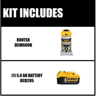 20-Volt MAX XR Lithium-Ion Cordless Brushless Router (Tool-Only) with Free 20-Volt MAX XR Li-Ion Battery Pack 5.0 Ah