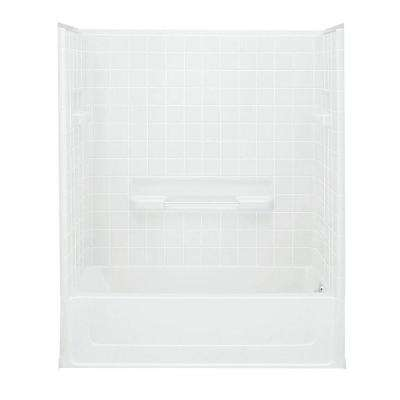 All Pro 60 in. x 30 in. x 73-1/2 in. Bath and Shower Kit with Right-Hand Drain inWhite