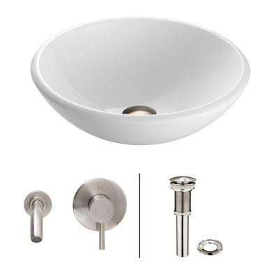 Stone Glass Vessel Sink in White Phoenix with Wall-Mount Faucet Set in Brushed Nickel
