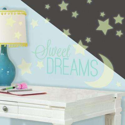 5 in. W x 11.5 in. H Sweet Dreams Glow in the Dark 44-Piece Peel and Stick Wall Decal