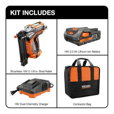 18-Volt Lithium-Ion Cordless Brushless HYPERDRIVE 18-Gauge 2-1/8 in. Brad Nailer, Battery, Charger, Belt Clip, Bag