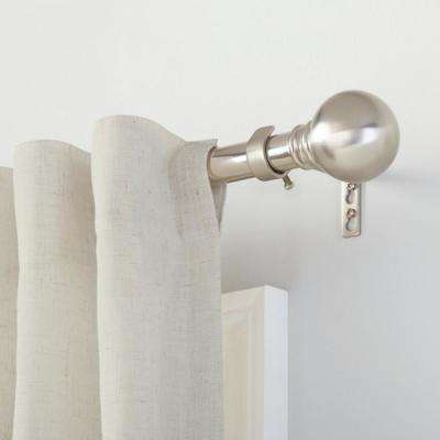 Mix and Match 1 in. Ball Curtain Drapery Rod Finial in Brushed Nickel (2-Pack)