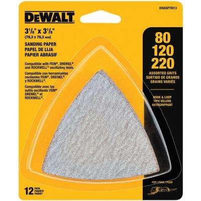Hook and Loop Triangle Sandpaper Assortment (12-Piece)