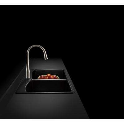 Kennon Dual Mount Neoroc Granite Composite 33 in. 1-Hole Double Bowl Kitchen Sink in Matte Black