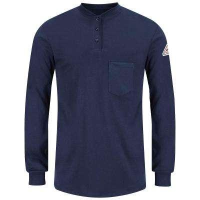 ECEL FR Men's Navy Long Sleeve Tagless Henley Shirt
