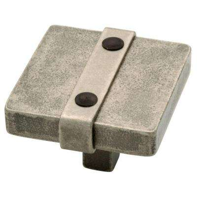 Iron Craft 1-1/2 in. Tumbled Pewter Riveted Square Cabinet Knob