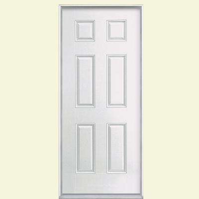 6-Panel Primed Smooth Fiberglass Prehung Front Door with No Brickmold
