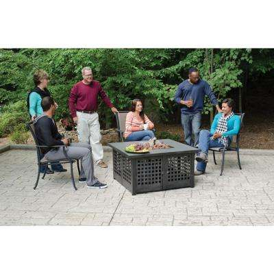 41.3 in. W Dark Slate Ceramic Tile LP Gas Gas Fire Pit with Multi-Spark Electronic Ignition and Variable Flame Settings