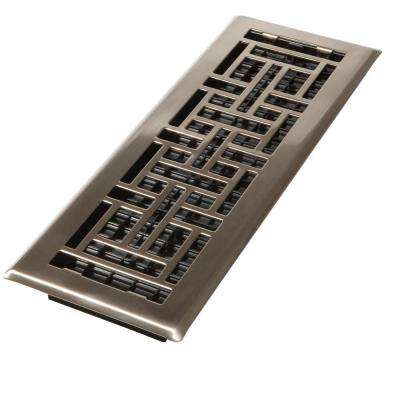 4 in. x 10 in. Steel Brushed Nickel Oriental Design Floor Register