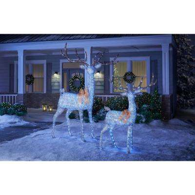 Holiday Glow 65 in. Christmas Cool White LED Silver PVC Deer