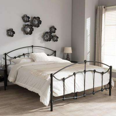Eileen Vintage Industrial Black Finished Metal Queen Size Bed