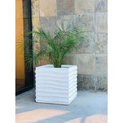 Small 15 in. Lightweight Concrete Square Wave Textured Off White Planter