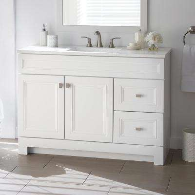 Sedgewood 48-1/2 in. W Bath Vanity in White with Solid Surface Technology Vanity Top in Arctic with White Sink