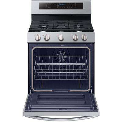 30 in. 5.8 cu. ft. Single Oven Door Gas Range with Illuminated Knobs with True Convection Oven in Stainless Steel