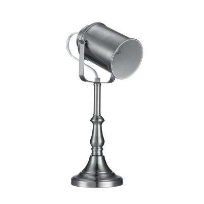 14.72 in. Brushed Steel Finish Clear Cord Studio Table Lamp
