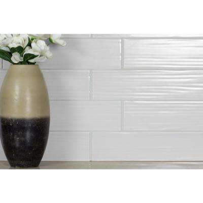 Monroe Milano White Field  4 in. x 16 in. Textured Glass Wall  Tile (4 Sq. ft./Pack)