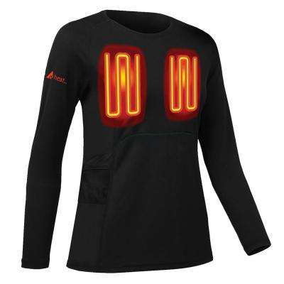 Women's Black Long Sleeved Heated Base Layer Shirt