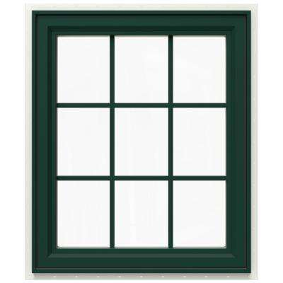 29.5 in. x 35.5 in. V-4500 Series Right-Hand Casement Vinyl Window with Grids - Green