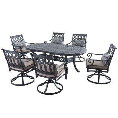 Catelynn 7-Piece Patio Dining Set with Beige Cushions