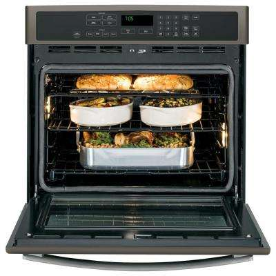 Profile 30 in. Single Electric Wall Oven Self-Cleaning with Steam Plus Convection in Slate, Fingerprint Resistant