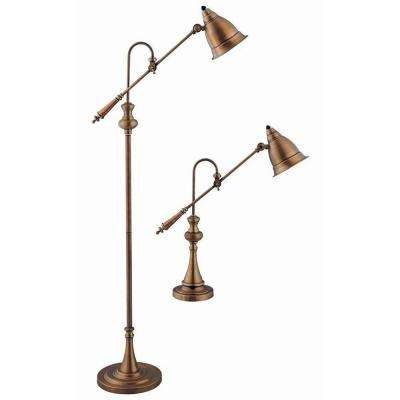 Sonoma 59 in. Antique Brass Table and Floor Lamp Set