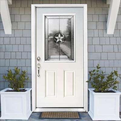 36 in. x 80 in. Reliant Series Primed White Right-Hand Half Lite Patriot Decorative Glass Fiberglass Prehung Front Door