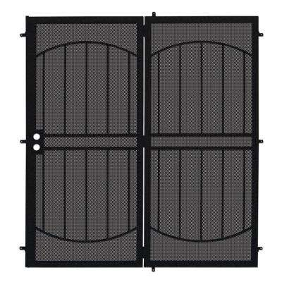 72 in. x 80 in. Arcada Black Projection Mount Outswing Steel Patio Security Door with Expanded Metal Screen