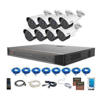 Ultra Commercial Grade 16-Channel 4K 3TB Smart NVR Surveillance System with (8) 4K 8MP Indoor/Outdoor Bullet Cameras