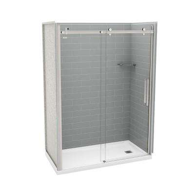 32 in. x 60 in. x 83.5 in. Direct-to-Stud Right Alcove Shower Kit in Metro Ash Grey with Chrome Door