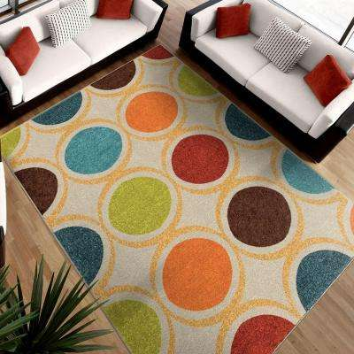 Color Circles Ivory 8 ft. x 11 ft. Indoor Area Rug