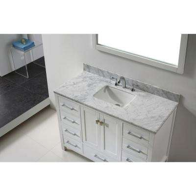Caroline Avenue 48 in. W Bath Vanity in White with Marble Vanity Top in White with Square Basin and Mirror