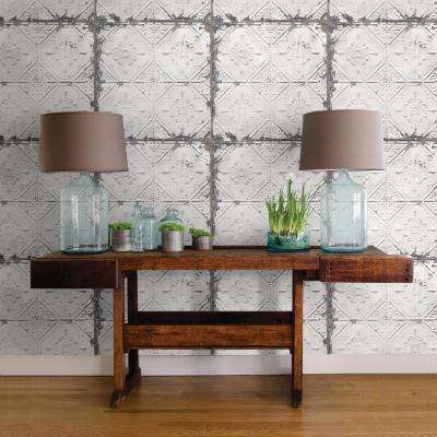 30.75 sq. ft. Vintage Tin Tile Peel and Stick Wallpaper