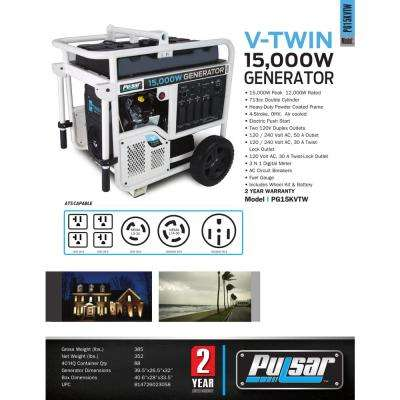 15,000/12,000-Watt Gasoline Powered Electric Start Portable Generator with V-Twin 713 cc Ducar Engine