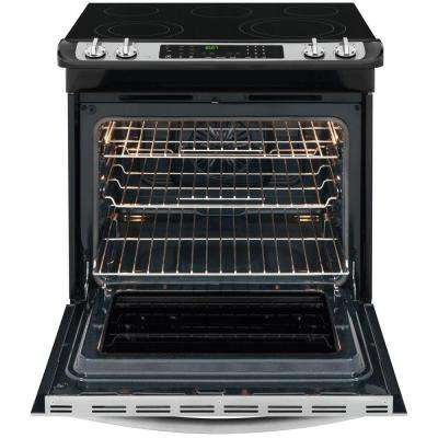 30 in. 4.6 cu. ft. Slide-In Electric Range with Self-Cleaning Convection Oven in Stainless Steel
