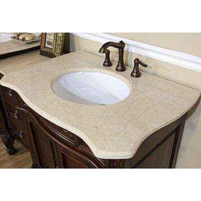 Ashby 82-7/10 in. W x 23-6/10 in. D x 36 in. H Double Vanity in Walnut with Marble Vanity Top in Cream